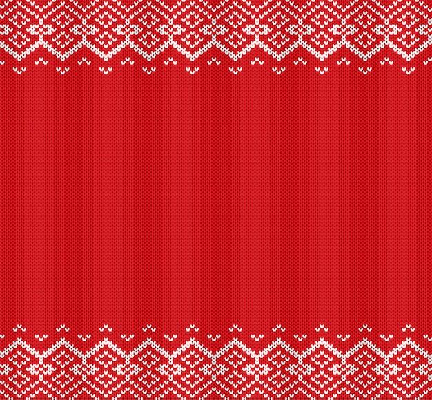 Boże narodzenie z dzianiny. czerwony i biały ornament geometryczny. boże narodzenie dzianiny zimowy sweter tekstury. Premium Wektorów