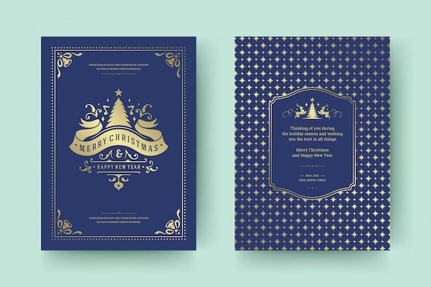 Boże narodzenie z życzeniami vintage projekt typograficzny Premium Wektorów