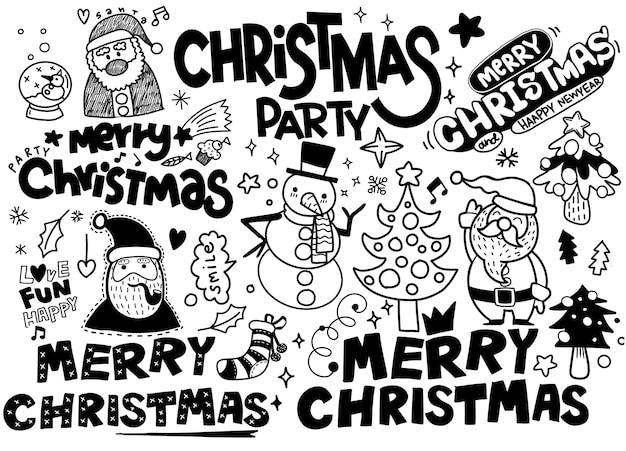 Boże Narodzenie Zbiory Kolekcji, Ręcznie Rysowane Elementy Nowego Roku Na Na Białym Tle Premium Wektorów