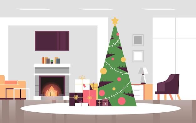 Boże Narodzenie Zdobione Zielone Jodły Z Prezentowymi Pudełkami Merry Xmas Szczęśliwego Nowego Roku Wakacje Uroczystość Koncepcja Nowoczesny Salon Wnętrze Poziome Wektor Ilustracja Premium Wektorów