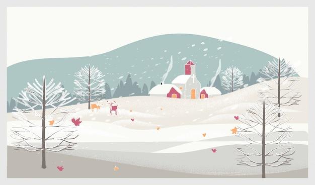 Boże Narodzenie Zimowy Krajobraz Premium Wektorów