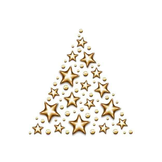Boże Narodzenie Złote Gwiazdki I Koraliki W Trójkącie Na Białym Tle. Premium Wektorów