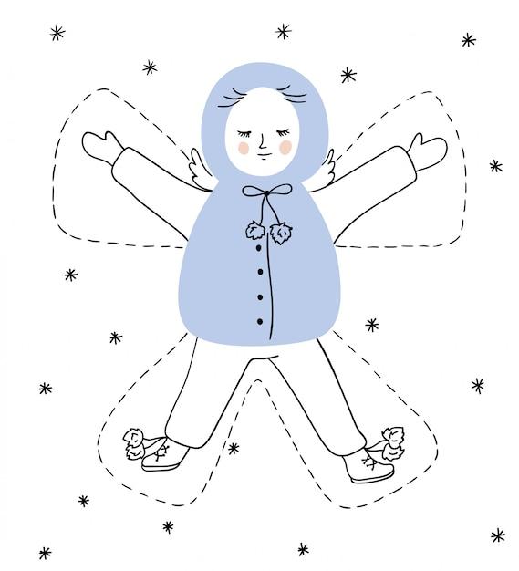 Bożenarodzeniowa Ilustracja Z Aniołem Premium Wektorów