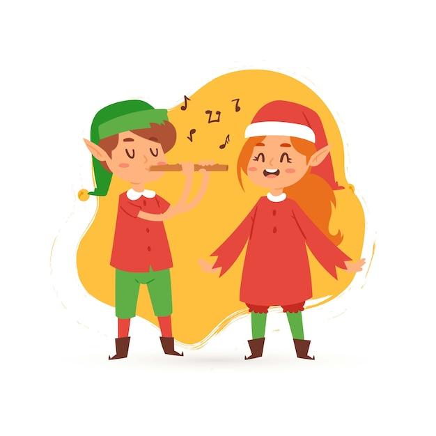 Bożenarodzeniowi elfy żartują śpiewającą kolędowanie kreskówki ilustrację. Premium Wektorów