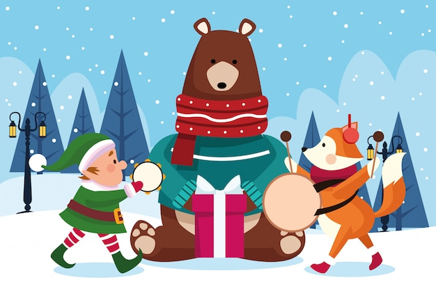 Bożenarodzeniowi zwierzęta i santas pomagier bawić się instrumenty muzycznych nad śnieżnym dniem, kolorowym, ilustracja Premium Wektorów