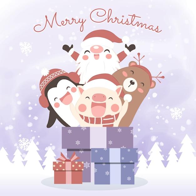 Bożenarodzeniowy kartka z pozdrowieniami z ślicznymi kreskówka zwierzętami Premium Wektorów