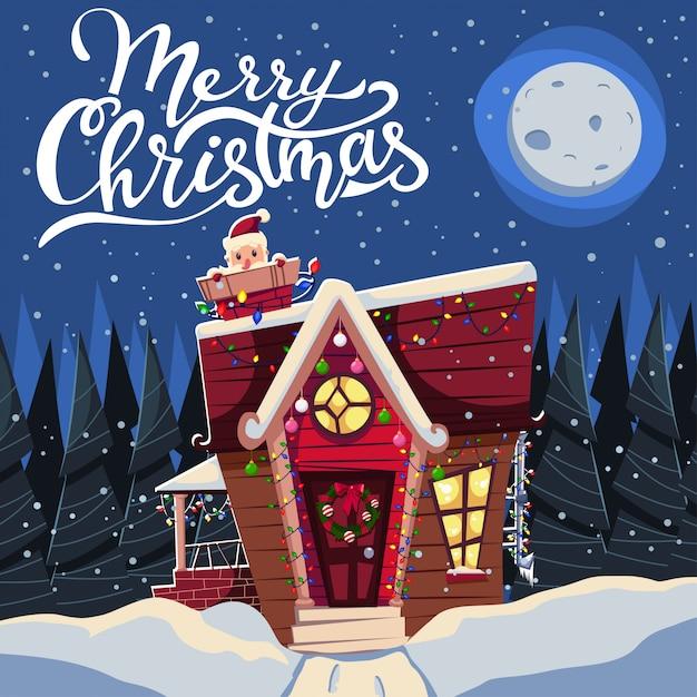 Bożonarodzeniowy dom w śniegu ozdobiony girlandami i mikołajem w kominie Premium Wektorów
