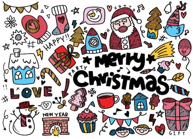 Bożych Narodzeń Doodle Kolekcja, Colorfull Ilustracja Premium Wektorów