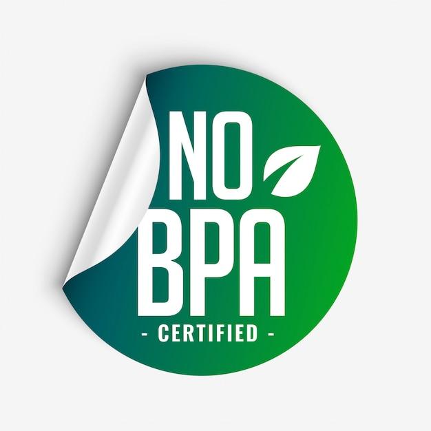 Brak Etykiety Bisfenolu-a I Ftalanów Bpa Certyfikowanej Przez Zieloną Naklejkę Darmowych Wektorów