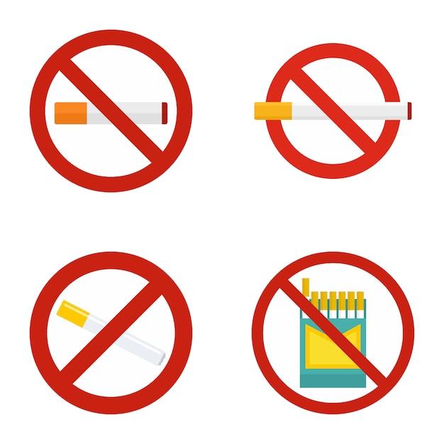 Brak Zestawu Ikon Dla Niepalących Premium Wektorów