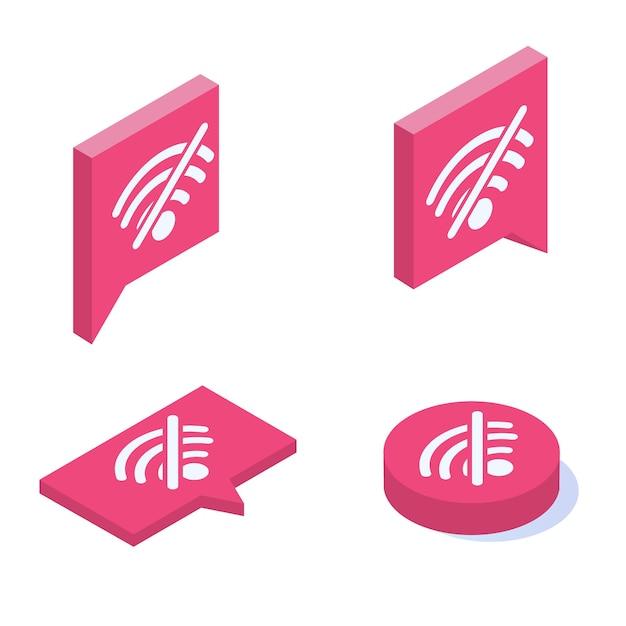 Brak Zestawu Ikon Izometrycznych Wektora Wifi. Znak Złego Połączenia Internetowego. Premium Wektorów