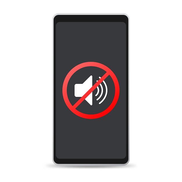Brak Znaku Dźwiękowego W Telefonie Na Białym Tle Premium Wektorów