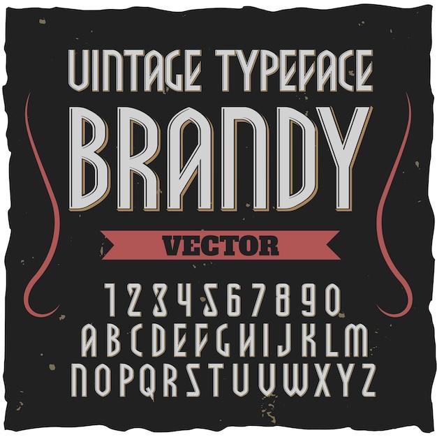 Brandy Kwadratowa Czcionka Alfabetu Darmowych Wektorów