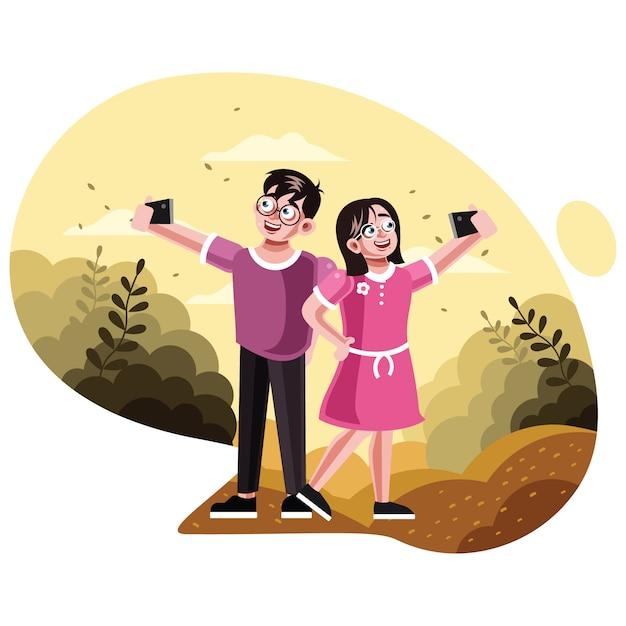 Brat i siostra biorąc obraz selfie Premium Wektorów