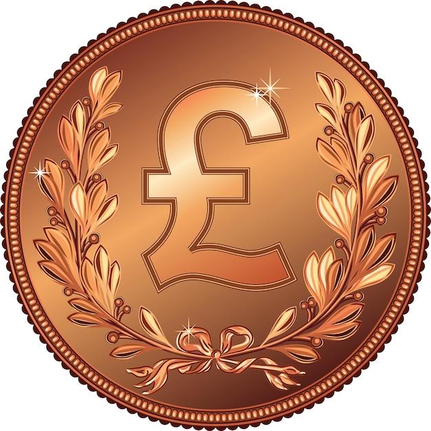 Brązowa Moneta Money Pound Z Wieńcem Laurowym Premium Wektorów