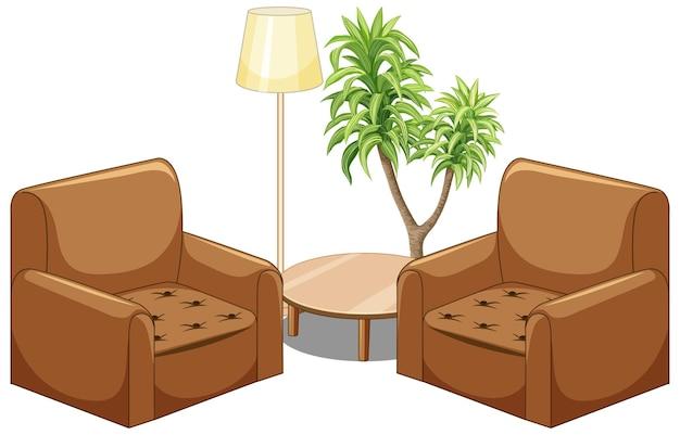 Brązowa Sofa Meble Z Lampą I Drzewo Na Białym Tle Darmowych Wektorów