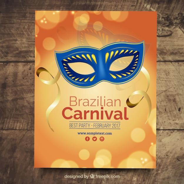 Brazylia Karnawał Broszura Z Niebieską Maską Premium Wektorów