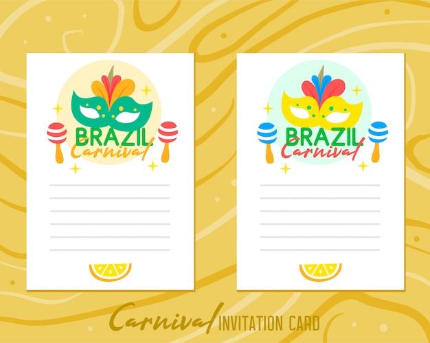 Brazylia karnawałowa zaproszenie karta na drewnianym tle Premium Wektorów