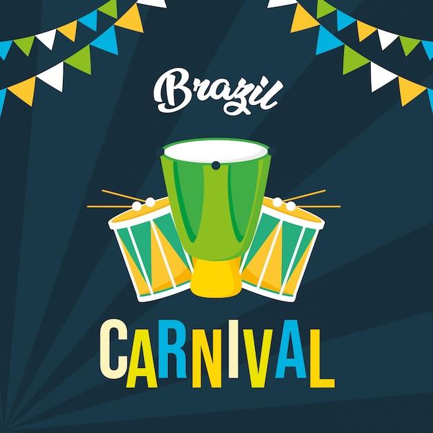 Brazylia karnawałowe tło festiwalu Darmowych Wektorów