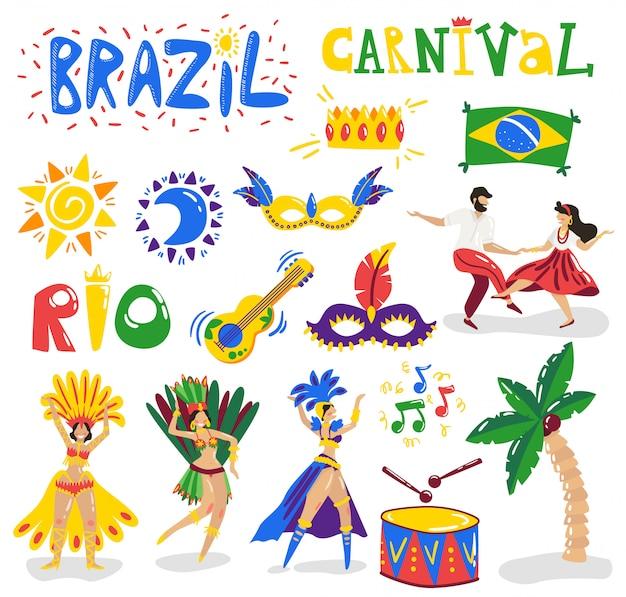 Brazylia Karnawałowego świętowania Symboli / Lów Kolorowi Charaktery Inkasowi Z Muzycznymi Instrumentów Tancerzy Kostiumami Maskują Słońce Flaga Wektoru Ilustrację Darmowych Wektorów