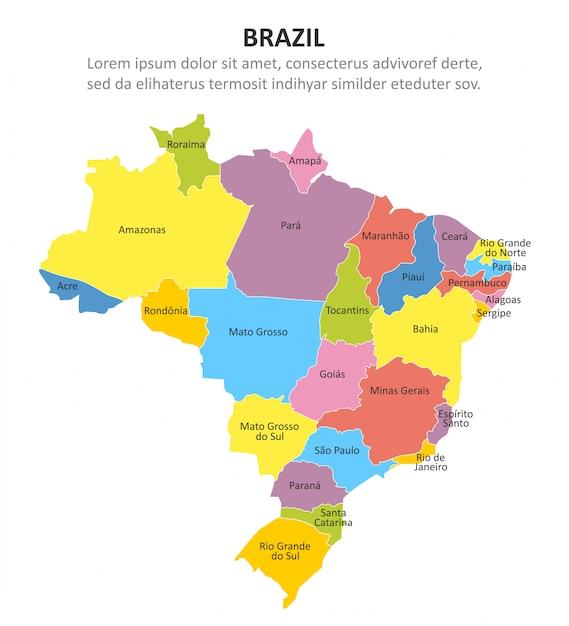 Brazylia wielobarwna mapa z regionami Premium Wektorów