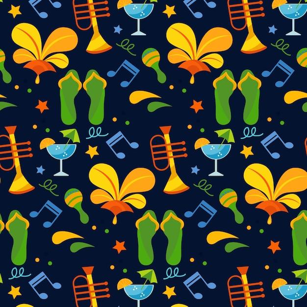 Brazylijski Wzór Na Imprezę Z Nutami I Akcesoriami Plażowymi Darmowych Wektorów
