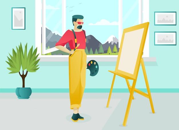 Brodaty Artysta Postać Pracująca W Studio Artystycznym Premium Wektorów