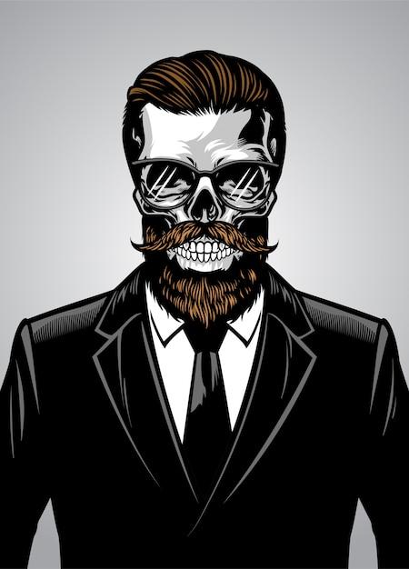 Brodaty hipster czaszki na sobie garnitur Premium Wektorów