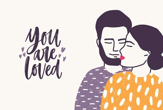 Brodaty Mężczyzna Obejmujący Kobietę I Zakochany Romantyczny Slogan Napisany Kursywą Premium Wektorów