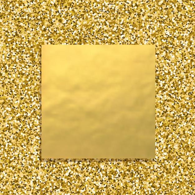 Brokat złote tło z kwadratowym złotym sztandarem, musujące tekstury pyłu Premium Wektorów