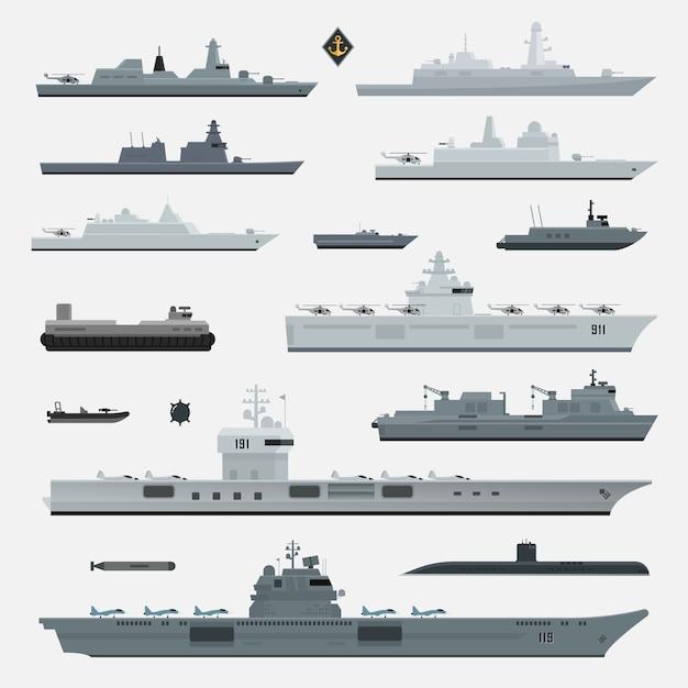 Broń Wojskowa Pancernika Marynarki Wojennej. Ilustracja. Premium Wektorów
