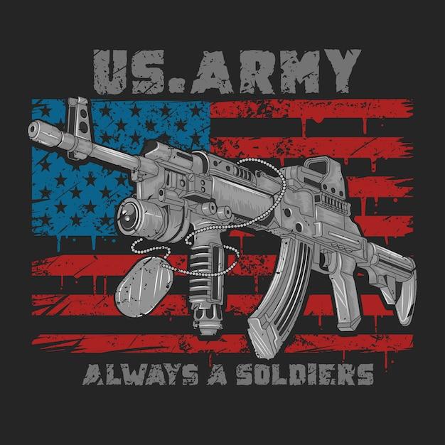 Broń Z Ameryki Usa Ak-47 Z Flagą Usa I Wektorem Grunge Premium Wektorów