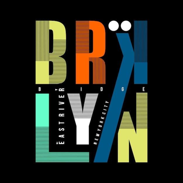 Brooklyn Graficzne Linie Typografii Premium Wektorów