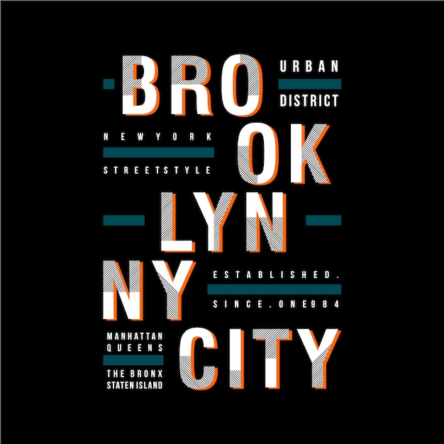 Brooklyn Ny / City Vector Design Fajne Grafiki T Shirt Premium Wektorów