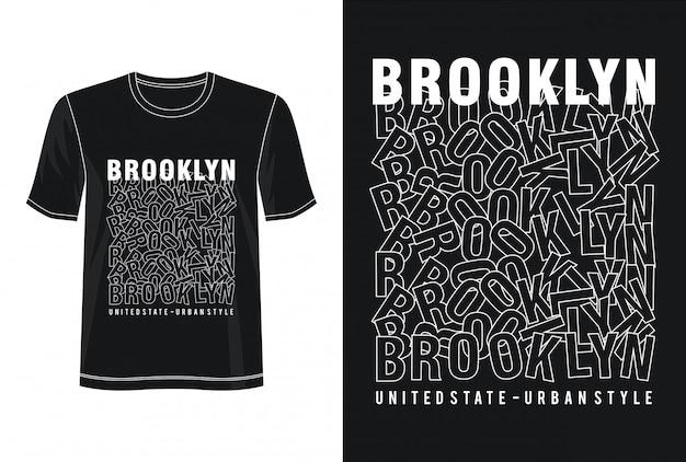 Brooklyn Typografia Do Koszulki Z Nadrukiem Premium Wektorów