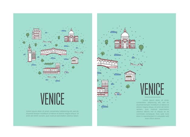 Broszura Dotycząca Podróży Po Wenecji W Stylu Liniowym Premium Wektorów