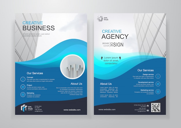 Broszura lub ulotka biznes bifold niebieski falisty kształt Premium Wektorów