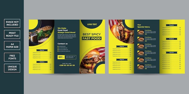 Broszura Potrójnego Menu żywności Premium Wektorów