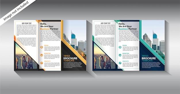 Broszura Potrójny Szablon Dla Firmy Promocyjnej Premium Wektorów