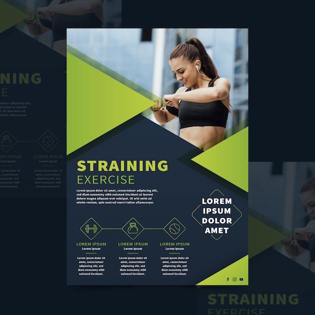 Broszura Sportowa Ze Zdjęciem Darmowych Wektorów