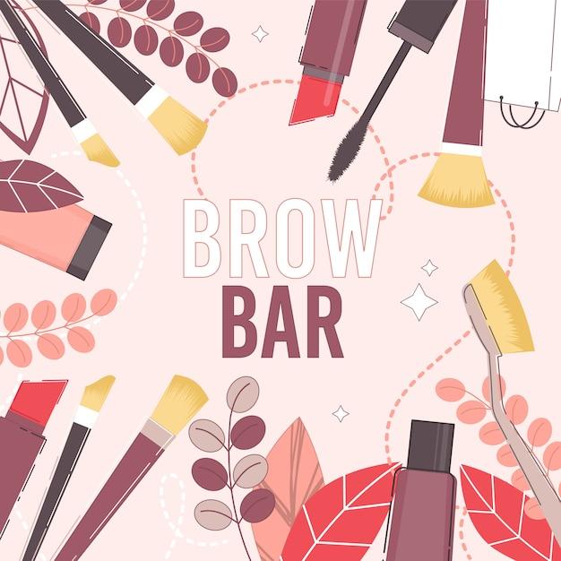 Brow Bar I Prezentacja Salonu Piękności Premium Wektorów