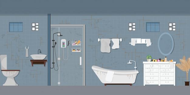 Brudne Wnętrze łazienki Z Meblami. Premium Wektorów