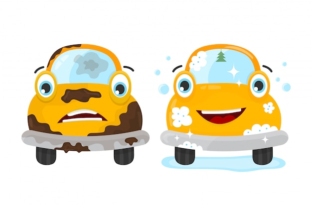 Brudny I Czysty Zestaw Samochodowy Premium Wektorów