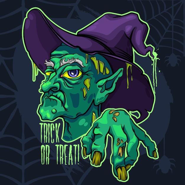 Brzydka straszna stara czarownica halloween Premium Wektorów