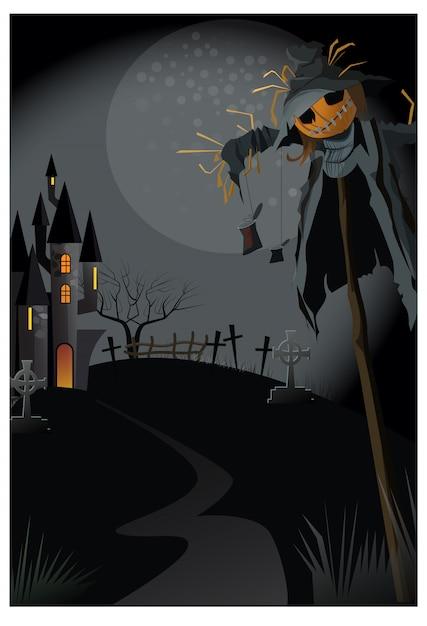 Brzydki strach na wróble na kiju przy nocy ilustracją Darmowych Wektorów