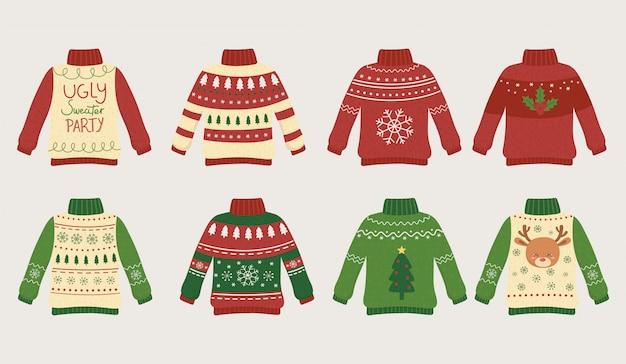 Brzydkie swetry świąteczne inaczej się bawią Premium Wektorów