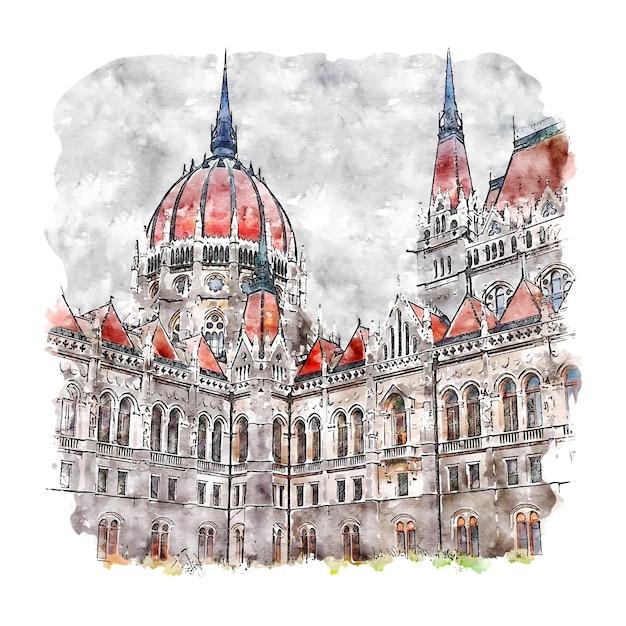 Budapeszt Węgry Szkic Akwarela Ręcznie Rysowane Ilustracja Premium Wektorów