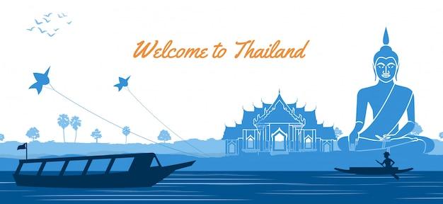 Buddha Tajlandzka świątynia Z Wioślarską łodzią Premium Wektorów