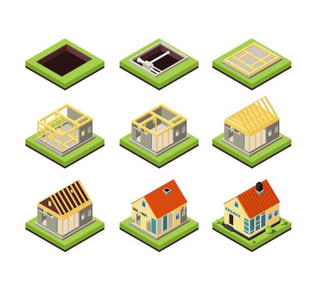 Budowa Domu Fazy Budowy Budynku. Etap Tworzenia Domu Wiejskiego. Izometryczne Wektorowe Ikony Premium Wektorów
