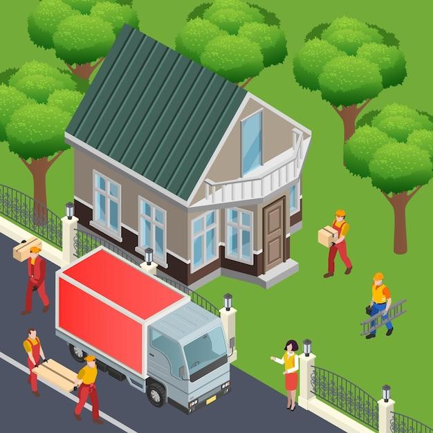Budowa Izometryczna Kompozycja Z Widokiem Na Zewnątrz Domu Mieszkalnego I Ciężarówki Dostawczej Z Materiałami Do Dekoracji Domu Darmowych Wektorów